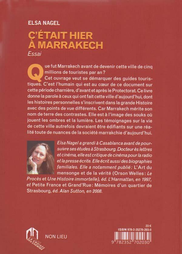 C'était hier à Marrakech - 4e de couverture